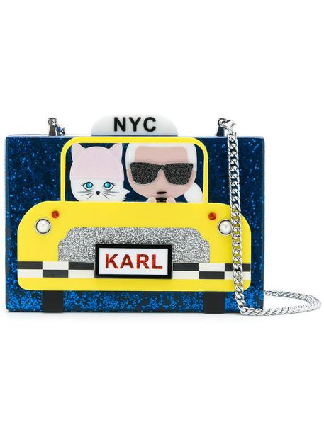 karl lagerfeld women clutch blue bag