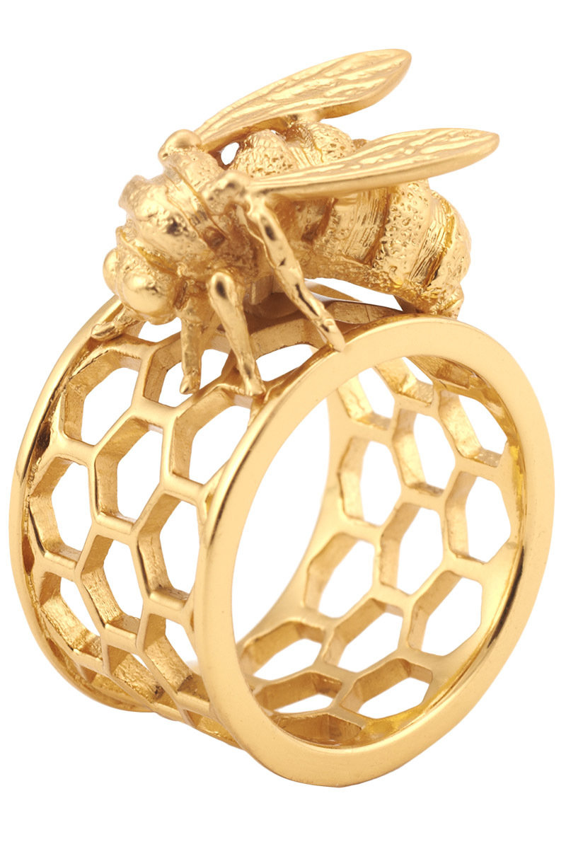 Shop Bee & Honeycomb Ring by Bill Skinner at LUX-FIX.com
