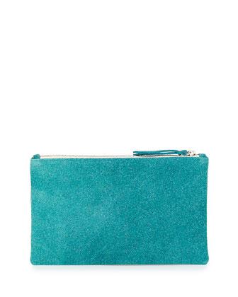 Lauren Merkin Medium Zip-Top Bead-Encrusted Clutch, Turquoise