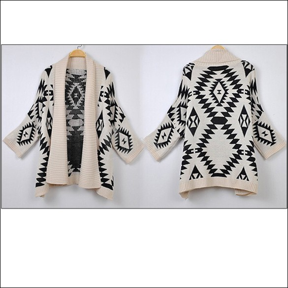 Geometric Pattern Oversized Open Front Loose Sweater Wrap Cardigan Outwear, unit price of $17.48 only - Yesfor.com