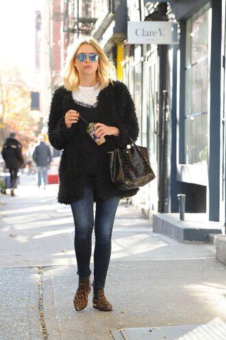 coat jeans streetstyle ashley benson fall outfits faux fur black fur coat