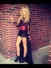 dress,payton rae,black,red,sequin dress,lace,shorts,high-low dresses