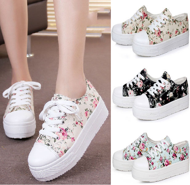 Women Girls High Top Platform Lace Up Canvas Sneakers Lady Casual Shoes Student
