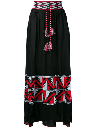 skirt maxi skirt maxi women cotton black aztec