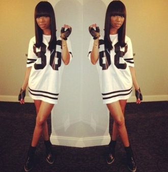 black and white top dress jersey jersey dress white sporty number tee