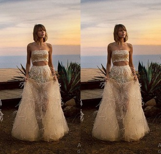 dress skirt wedding dress taylor swift gown sheer strapless top