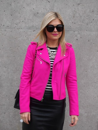 jacket pink cute biker jacket zip barbie girly perfect hot pink perfecto