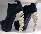 shoes,edgy,black,white,skull,bones,kawaii grunge,goth,ankle boots,heels,heel boots,skeleton