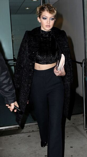 pants crop tops all black everything fashion week 2016 jacket gigi hadid top ny fashion week 2016