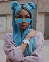 hair accessory,tumblr,hairstyles,hair,hair bow,blue hair,sunglasses,watch,choker necklace,silver choker,necklace,silver necklace,jewels,jewelry