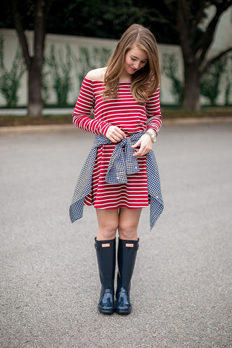 a lonestar state of southern blogger wellies hunter boots striped dress red dress