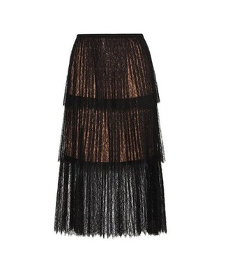 skirt lace skirt pleated lace black