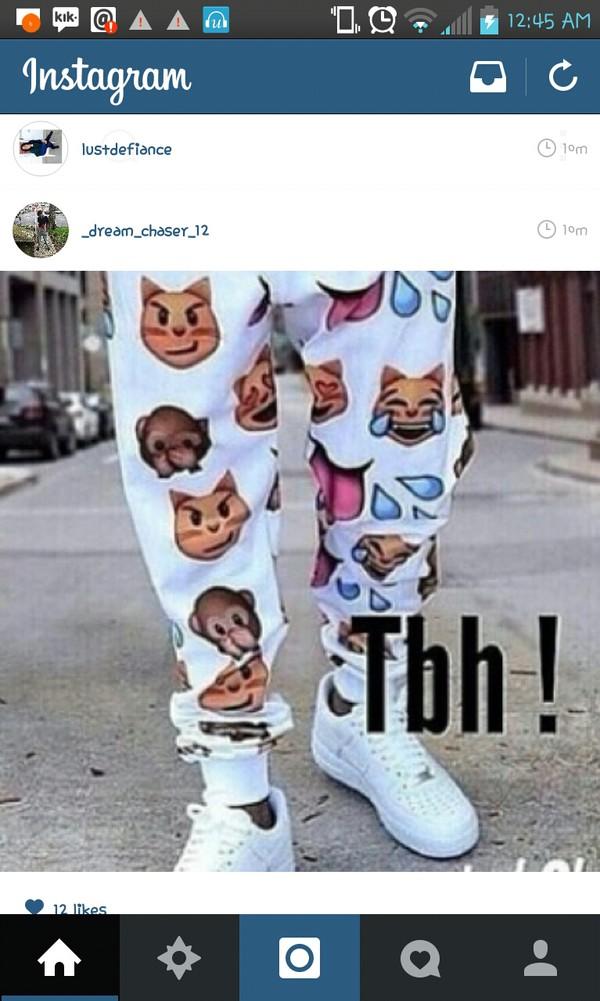 joggers pants emoji print