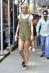 romper,shorts,khaki,olive green,summer,summer outfits,summer top,sneakers,taylor swift,streetstyle,top,choker necklace,t-shirt,shoes,jewels,black choker,necklace,celebrity style,celebrity,celebstyle for less,absolutemarket