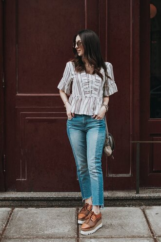 the material girl blogger top shoes jeans bag sunglasses jewels