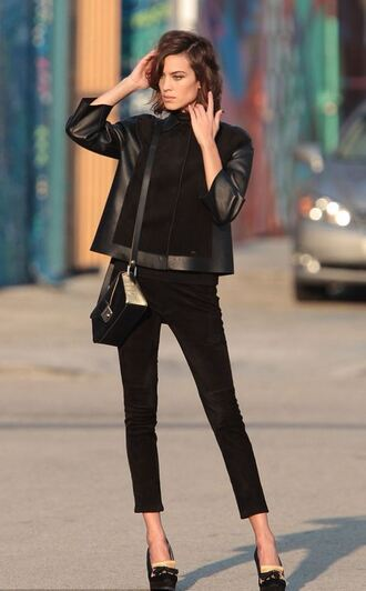 jacket pants all black everything alexa chung pumps purse