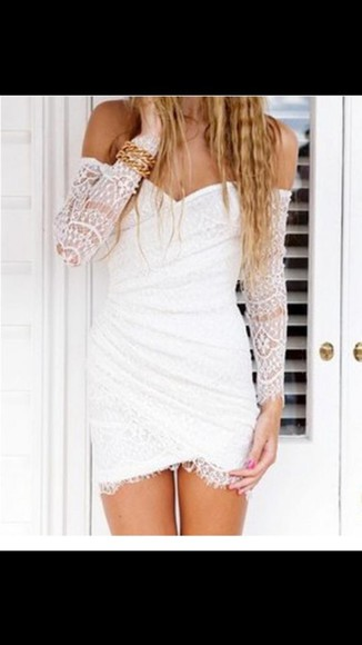 white dress lace sleeves shoulders bare wrap dress