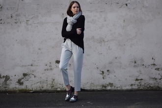 shot from the street blogger scarf cropped pants oxfords pants sweater shoes