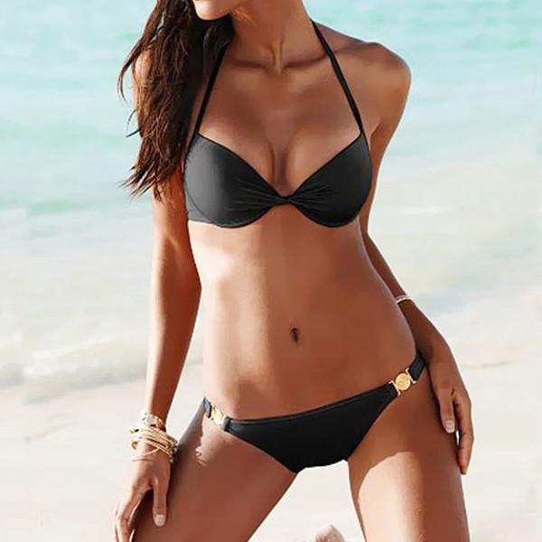 Twisted Solid Black Bikini