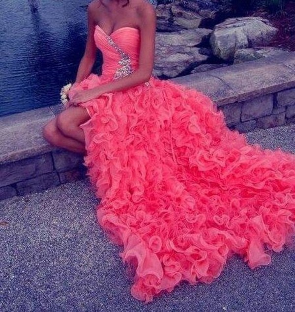 dress coral dress cute dress pink strapless sweetheart high low ruffle long diamonds sparkle glitter coral prom dress party dress