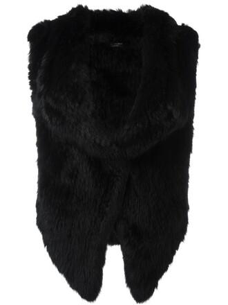 jacket fur jacket sleeveless open fur black