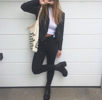 top cute outfit fall outfits urban boho grunge tumblr white weheartit black jeans denim jacket biker boots heels mid heel boots shoes