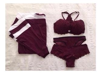 underwear burgundy lingerie bra panties sweatshirt