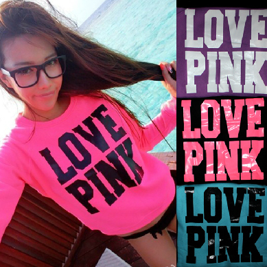 Fashion sexy sweet autumn and winter neon pink love pink plus velvet long sleeve pullover sweatshirt autumn  summer harajuku-inHoodies & Sweatshirts from Apparel & Accessories on Aliexpress.com