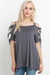 top,charcoal gray,tie sleeves,open shoulder,cold shoulder