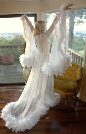 pajamas,robe,feathers,white,sheer,lingerie,sexy,cute,bridal