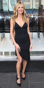 heidi klum,little black dress,shoes,dress