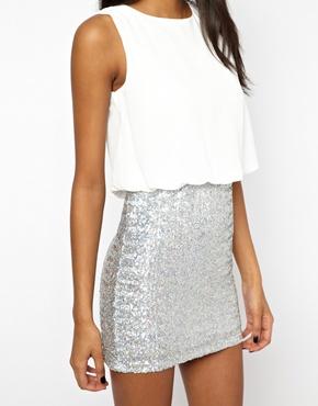 TFNC | TFNC Mini Dress with Hologram Sequin Skirt at ASOS