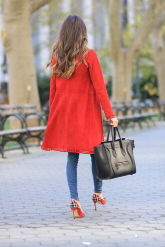 coat tumblr red coat denim jeans blue jeans skinny jeans bag black bag high heels pumps high heel pumps tartan shoes