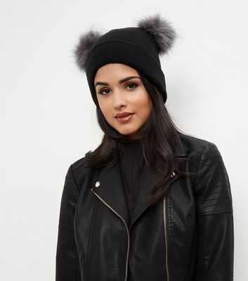 Black Double Faux Fur Pom Pom Beanie Hat 42035352a