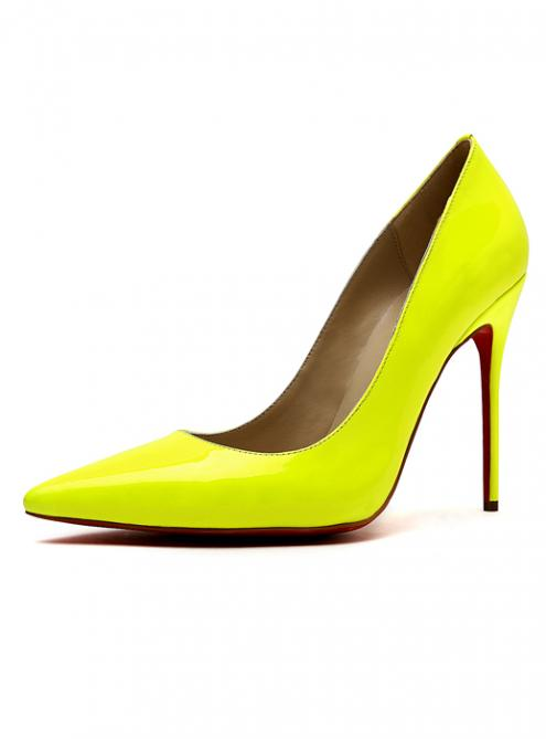 Yellow red rubber bottom patent leather high heels shoes d158$139