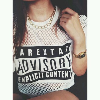 t-shirt top parental advisory explicit content jersey nike white gold chain necklace