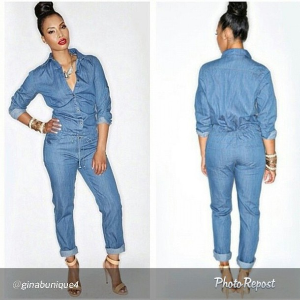 Innovative  Womens Bodycon Jumpsuit Full Length Sexy Denim Jumpsuit Skinny Jeans