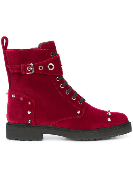 Fendi biker boots women leather silk velvet red shoes