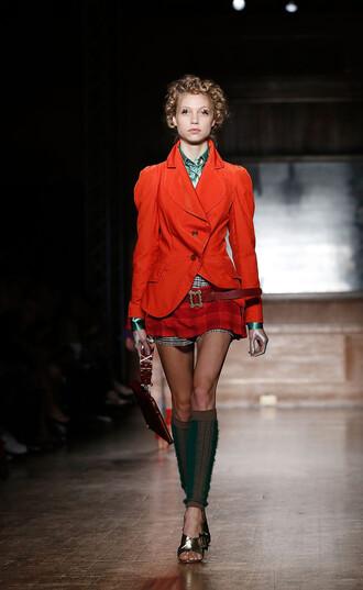 skirt plaid runway fall outfits jacket blazer mini skirt fashion week 2016 london fashion week 2016 vivienne westwood