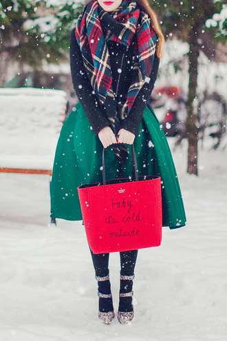 shoes tumblr glitter glitter shoes bag red bag tote bag skirt green skirt midi skirt jacket black jacket cropped jacket scarf tartan scarf flannel scarf winter outfits winter look tights opaque tights