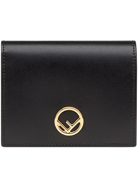 Fendi - logo fold out purse - women - Calf Leather - One Size, Black, Calf Leather