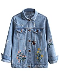 Amazon.com: jacket denim embroidered blue - Women: Clothing, Shoes & Jewelry