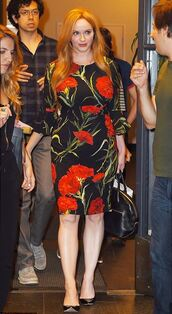 dress,floral,floral dress,christina hendricks,midi dress