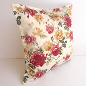 scarf,housewares,green,pink,cream,ivory,floral,home decor,house,creative pillows designs,fun pillows,canvas,cotton,yellow,decoration,pillow,roses