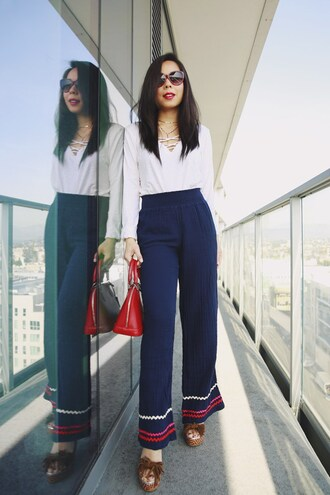hautepinkpretty blogger jewels pants shoes sunglasses red bag wedges blue pants