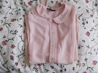 shirt blouse button up shirt button up blouse vintage old school old fashioned retro pink pale preppy