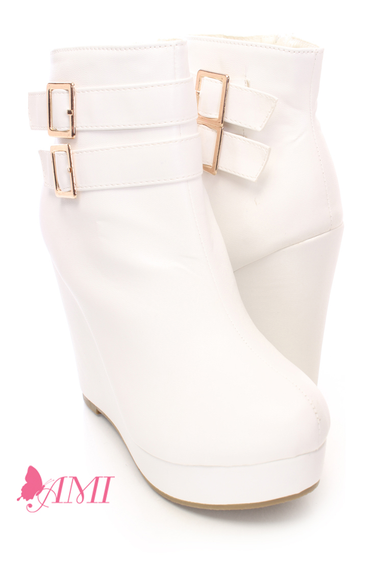 White strappy ankle wedge booties faux leather