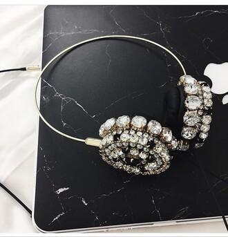earphones jewels embellished jewel headphones embelished headphones marble silver headphones