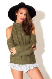 sweater,dark,green,cut out shoulder,high neck