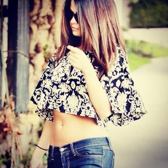 blouse black and white print selena gomezs blouse